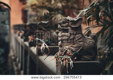 Lions statue in Chongqing Huguang assembly hall old buildings