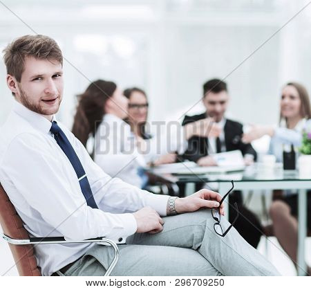 Leading Lawyer Of The Company On The Background Of The Working Meeting The Business Team