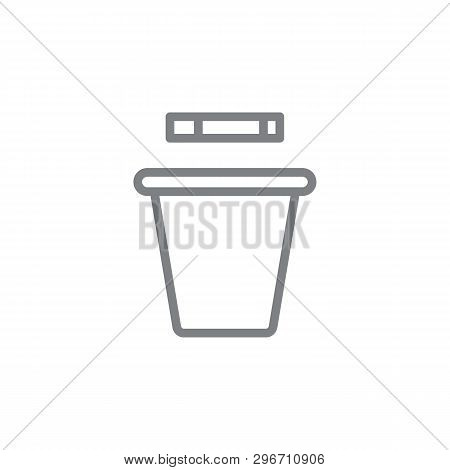 Smoking Trashcan Outline Icon. Elements Of Smoking Activities Illustration Icon. Signs And Symbols C