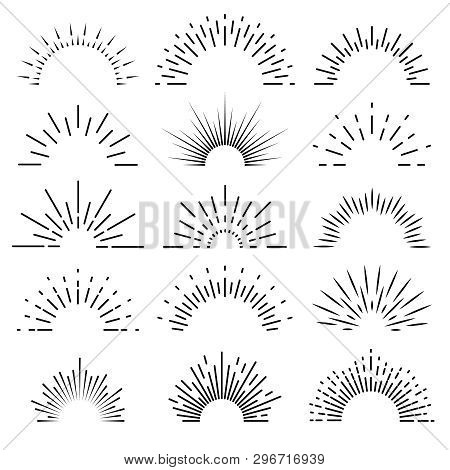 Retro Sunburst. Sunrise Rays Light Burst Line Shine Sunshine Sunbeam Vintage Border Spark Firework S