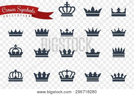 Crown Symbols. King Queen Crowns Monarch Imperial Coronation Princess Tiara Crest Luxury Royal Jewel