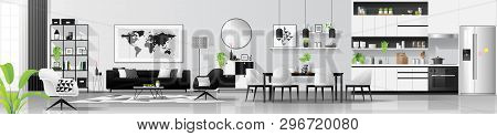 Modern Black And White Interior Background With Living Room , Dining Room And Kitchen Combination ,