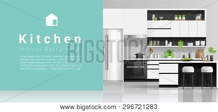 Modern Black And White Kitchen With Colorful Wall Background , Vector , Illustration