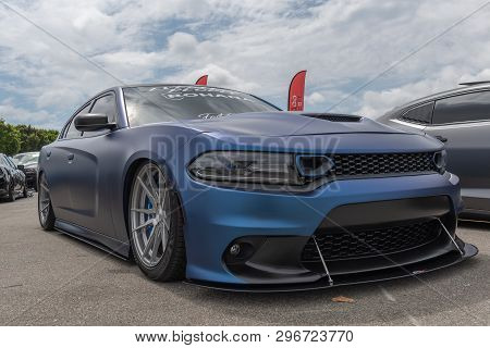 American Muscle Car Dodge Charger Exhibited At Torqued Tour Event.