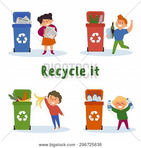 Children Gathering Plastic, Paper, Glass Bottles And Food Waste For Recycling In Cans. Recycle It Te