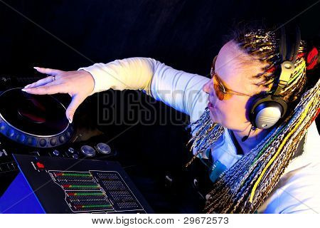 Dj Woman Playing Music