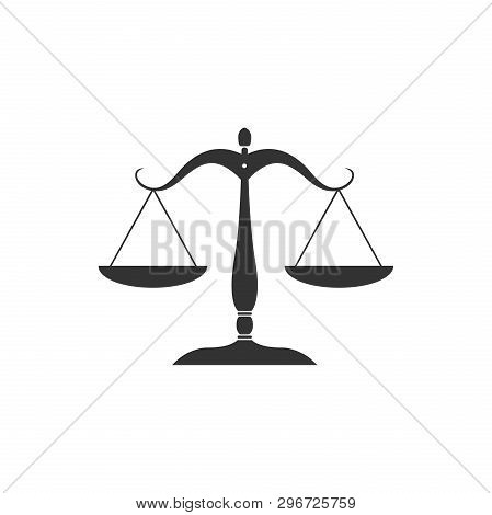 Scales Of Justice Icon Isolated. Court Of Law Symbol. Balance Scale Sign. Flat Design. Vector Illust