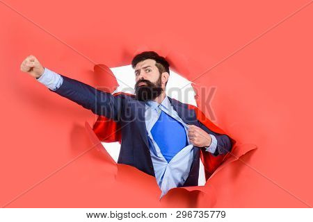 Through Paper. Business Growth. Businessman. Bearded Man Looking Through Paper. Super Businessmen In