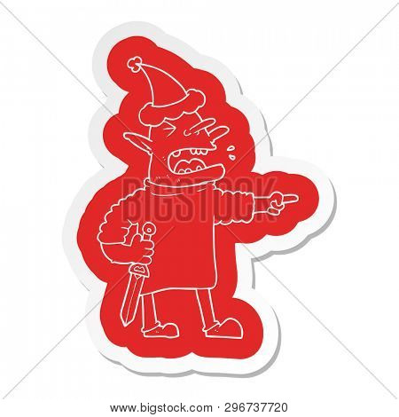 quirky cartoon  sticker of a goblin with knife wearing santa hat poster