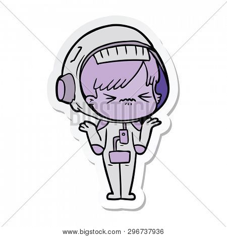 sticker of a confused cartoon space girl
