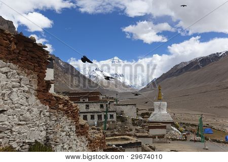 tibet: rongbuk monastery at the foot of mt. everest