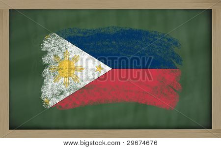 National Flag Of Philippines On Blackboard Painted With Chalk