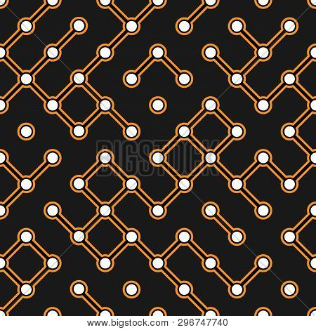 Black Circuit Board With Orange Connectors Vector Electroscheme Seamless Pattern