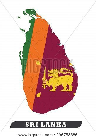 Map Of Sri Lanka. Sri Lankan Flag Used For Background. Sri Lankan Flag Used For Background Drawing B
