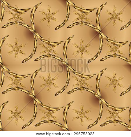 Vector - Stock. Doodles On Beige And Brown Colors. Seamless Background Pattern. Watercolor, Hand Dra