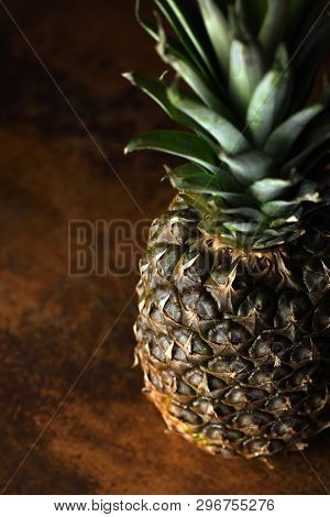 Pine Apple Whole Tropical Fruits With Leaves Rusty Background Useful Natural Organic Food Style. Clo