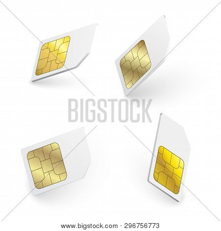Realistic Sim Cards Isolated 3d Design Gsm. Sim Card Vector Mobile Phone Icon Chip. Vector Mobile Ce