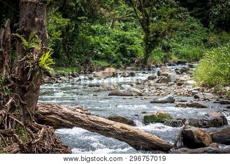 A Peaceful River In Papua New Guinea, Popular For Gold Mining, On The Island Of Bougainville, Papue