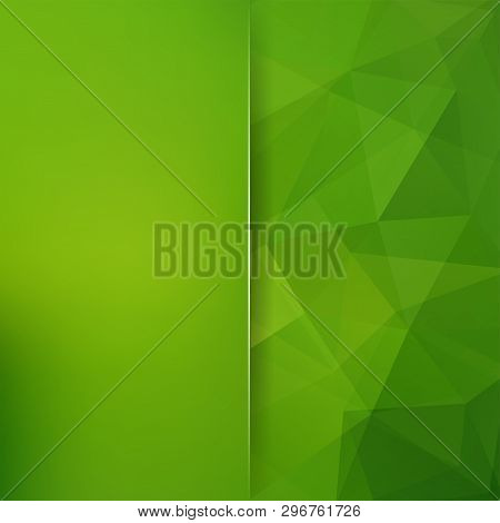 Green Abstract Mosaic Background. Blur Background. Triangle Geometric Background. Design Elements. V