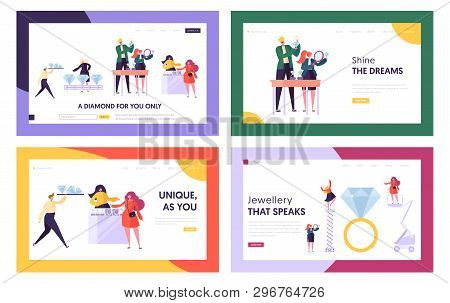 Diamond Producing And Selling In Jewelry Shop Website Landing Page Templates Set, Seller Offer Bijou