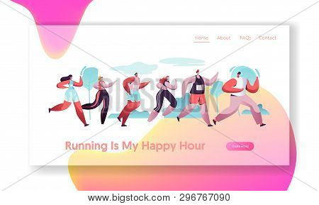 Group Of Characters Running Marathon Distance In Raw. Sport Jogging Competition. Athlete Sprinters S