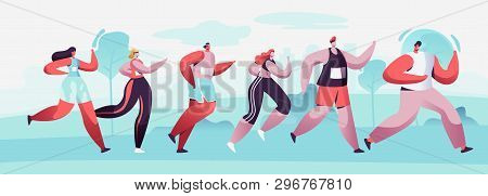 Group Of Male And Female Characters Running Marathon Distance In Raw. Sport Jogging Competition. Ath