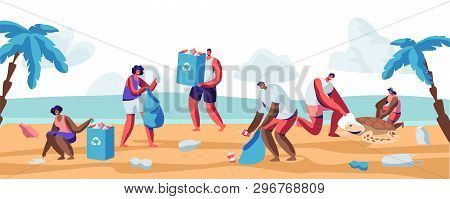 People Collecting Trash Into Bags On Beach. Pollution Of Seaside With Different Kinds Of Garbage. Vo