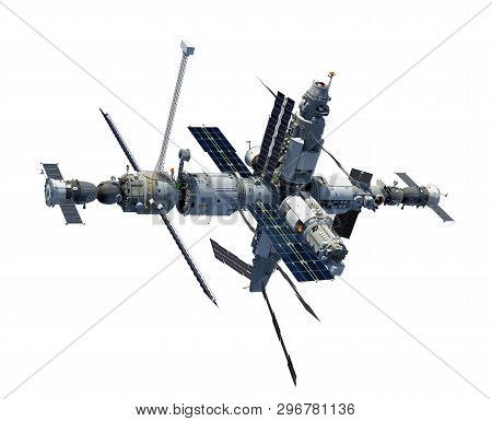Space Station Isolated On White Background. 3d Illustration.