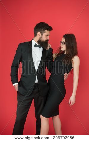 Formal party. Couple in love on date. art experts of bearded man and woman. esthete. Romantic relationship. Formal sexy couple. formal fashion for couple. romantic couple in formal tuxedo and dress. poster
