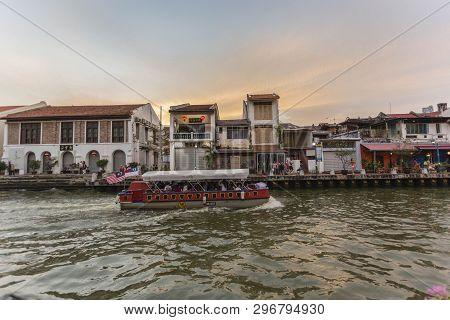 Melaka, Malaysia - 4 August L, 2018: The River Cruise, A Service Provided By The Melaka River Cruise