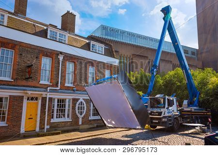 London, Uk - May 22 2018: A Crane With A Gigantic Softbox That Used In Film Lighting Industry On Loc