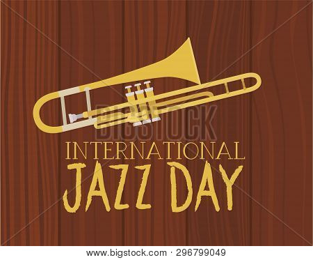 Music Trombone In Frame With Wooden Background Vector Illustration Design