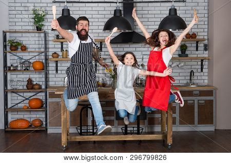 Family Having Fun Cooking Together. Teach Kid Cooking Food. Weekend Breakfast. Cooking With Child Mi