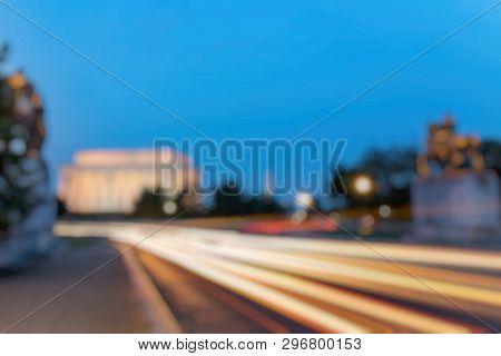 Out Of Focus Of  Lincoln Memorial At Night. Seen From Memorial Bridge, Washington Dc, Usa. Long Expo