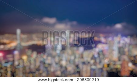 Out Of Focus Of Panorama View Of Hong Kong Skyline On The Evening Seen From Victoria Peak, Hong Kong