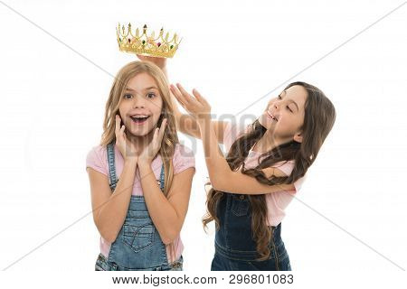 There Is Only One Champion. Adorable Small Child Rewarding Cute Little Champion Girl With Crown. Hap