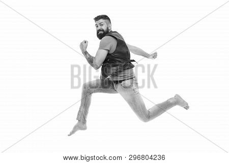 Never stop. Man thief run away. Keep moving concept. Guy bearded hipster captured in running motion isolated on white background. Bearded man running high speed. Escape and runaway. Running motion. poster