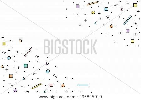 Abstract Random Colorful Geometric Shapes Seamless Background With Field For Information. Contour Sh