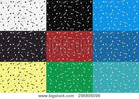 Abstract Random Colorful Geometric Shapes, A Set Of Seamless Backgrounds With Different Variations O