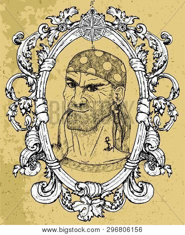 Portrait Of Seaman, Pirate Captain Or Boatswain Smoking Pipe On Texture Background. Hand Drawn Engra