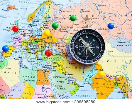 Top View Of Planning A Trip Or Adventure Travel Planning Dreams. Map Of The World.travel Concept .tr