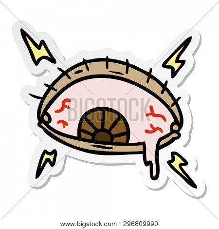 hand drawn sticker cartoon doodle of an enraged eye
