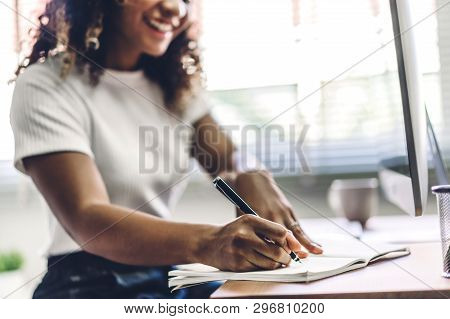 African American Black Woman Working With Laptop Computer.creative Business People Planning And Usin