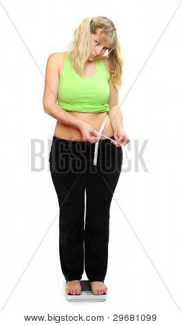 Picture of a pretty woman on bathroom scale.