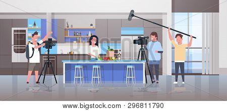 Operators Using Video Camera Recording Food Blogger Woman Preparing Tasty Dishes Videographers Using