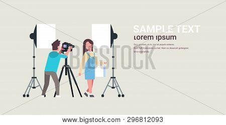 Professional Man Photographer Using Dslr Camera On Tripod Shooting Beautiful Woman Model Girl Posing