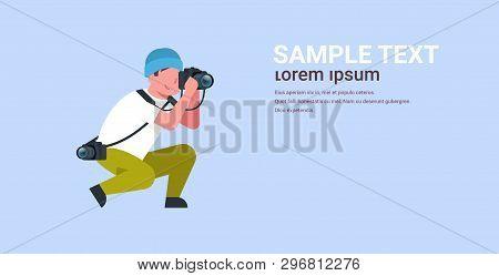 Man Professional Photographer Taking Photo Guy Journalists Or Paparazzi Taking Photos Using Dslr Cam