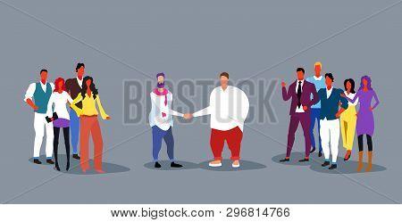 Businessmen Handshaking Businesspeople Group Teams Handshake Agreement Concept Successful Deal Full