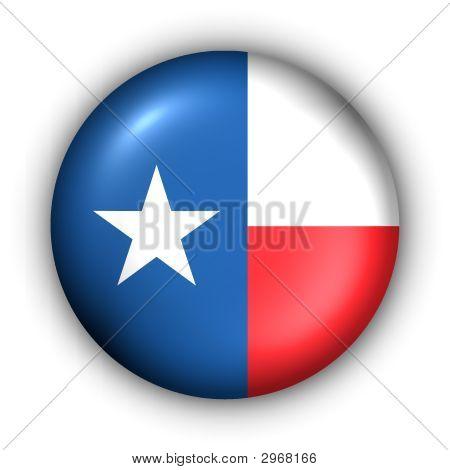 Round Button Usa State Flag Of Texas