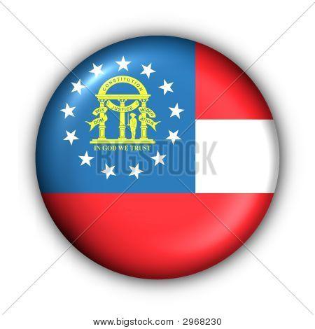 Round Button Usa State Flag Of Georgia